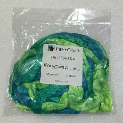 Mulberry silk roving in package.