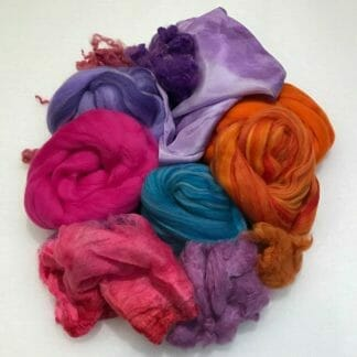 Fibres included in the Nuno Felted Scarf material kit.