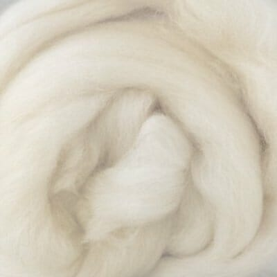 Natural white Merino wool fibres.